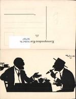 567567,Künstler AK Theo Zasche Rauchen Männer Scherenschnitt Silhouette - Scherenschnitt - Silhouette