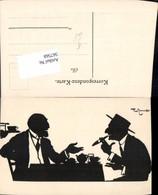 567568,Künstler AK Theo Zasche Rauchen Männer Scherenschnitt Silhouette - Scherenschnitt - Silhouette