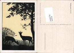567574,Künstler AK Josefine Allmayer Rehe Wild Jagd Scherenschnitt Silhouette Künstle - Scherenschnitt - Silhouette