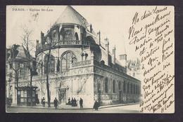 CPA 75 - PARIS - Eglise Saint-Leu - TB PLAN EDIFICE RELIGIEUX Petite Animation Devant L'entrée + Kiosque Journaux 1902 - Kirchen