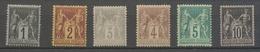 France Classique Lot De 6 Sages Neuf * TB : 1c,2c,3c,4c, 5c Et 10c. TB P5001 - 1876-1878 Sage (Typ I)