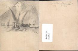 566051,Karte Bleistiftzeichnung Schiff Segelschiff Segelboot Boot - Segelboote