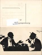 567461,Künstler AK Theo Zasche Silhouette Scherenschnitt Rauchen Zigarre - Scherenschnitt - Silhouette