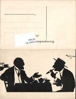 567462,Künstler AK Theo Zasche Silhouette Scherenschnitt Rauchen Zigarre - Scherenschnitt - Silhouette