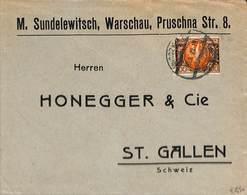 Poland 1922 Business Mail To Switzerland, (Postal History), Stamps - 1919-1939 Republik