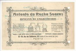 Invoice * Portugal * 1947?? * Porto * Antonio Da Rocha Soares * Oficina De Caldeireiro * Holed - Portugal