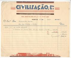 Invoice * Portugal * 1956 * Porto * Civilização, Lda * Holed - Portugal
