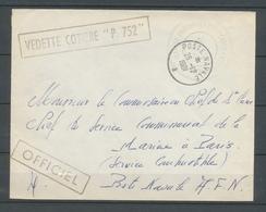 1961 Env. Obl Poste-Navale Vedette COTIERE P. 752 Superbe X3722 - Marcophilie (Lettres)
