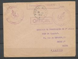 1953 Env. En FM Obl Poste-navale Griffe Patrouilleur TRIDENT Superbe X3747 - Poste Navale