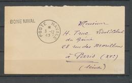1945 Env En FM Obl POSTE NAVALE + BONE NAVAL Superbe X3756 - Marcophilie (Lettres)
