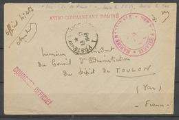 1949 Env. En FM Obl POSTES Aux Armées TOE AVISO Commandant DOMINE X3770 - Poststempel (Briefe)