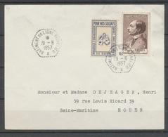 1957 Env. 5f + Vignette Obl Hexagonale BATIMENT De LIGNE RICHELIEU X3783 - Postmark Collection (Covers)
