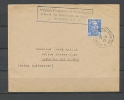 1947 Env. Obl Hexagonale BATIMENT De LIGNE RICHELIEU Voyage Présidentiel X3786 - Marcophilie (Lettres)