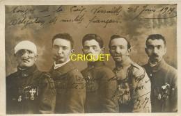 14-18, Carte Photo Originale, Délégation Des Mutilés, Dédicacée Par Albert Jugon, Une Des Gueules Cassées, Beau Document - Guerre 1914-18