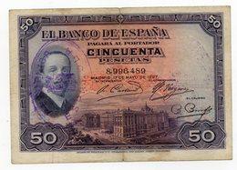 50 Pesetas 1927 - [ 1] …-1931 : First Banknotes (Banco De España)