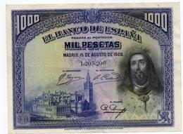 1000 Pesetas 1928 - [ 1] …-1931 : Prime Banconote (Banco De España)