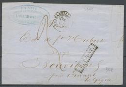 1848 Lettre CAD T15 Charleville + R.FRONT Belgique à 2d Tarif Frontalier X3671 - Marcophilie (Lettres)