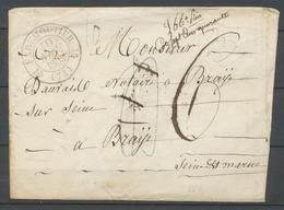 1834 Enveloppe CAD T12 FAREMOUTIER SEINE ET MARNE(73) TB. X3700 - Storia Postale