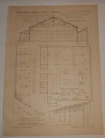 Plan D'ateliers De Serrurerie Artistique. M.M. Charpentier Et Brousse, Ingénieurs, Constructeurs à Puteaux. 1890 - Public Works
