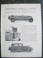 PUBBLICITA'/PUBLICITE' CARROSSERIE MACQUET & GALVIER,RENAULT,MEULEMEESTER,da Rivista AUTO CARRROSSERIE 1927 - Voitures