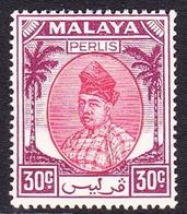 Malaysia-Perlis SG 21 1955 Raja Putra, 30c Scarlet And Purple, Mint Hinged - Perlis