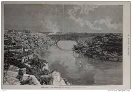 Portugal - Vue De Porto Et Du Pont Maria-Pia - Page Original 1881 - Historical Documents