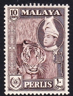Malaysia-Perlis SG 34 1957 Raja Putra, 10c Brown, Mint Hinged - Perlis