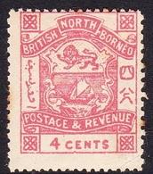 Malaysia-Sabah SG 40 1889 Arms 4c Rose-pink, Mint Hinged - Sabah
