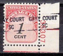 USA Precancel Vorausentwertung Preo, Locals South Carolina, Gray Court 841. Plate# - Vorausentwertungen