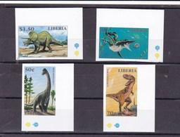 Liberia 4 Stamps Dinosaurs IMPERFORATE - Postzegels