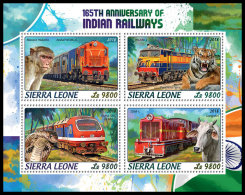 SIERRA LEONE 2018 MNH** Tiger Tigre Indian Railways M/S - OFFICIAL ISSUE - DH1822 - Raubkatzen