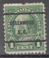 USA Precancel Vorausentwertung Preo, Bureau South Carolina, Greenwood 632-61 - Vereinigte Staaten