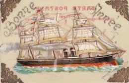 BATEAU CHROMO   SUR     CARTE CELLULOID - Cartes Postales