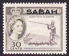 Malaysia-Sabah SG 416 1964 Queen Elizabethh II Overprinted Sabah, 30c Sepia And Olive, Mint Hinged - Sabah