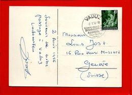 LIECHTENSTEIN, Carte Postale De Vaduz Pour Genève (Suisse) - Liechtenstein