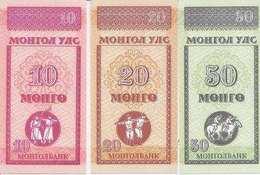 Mongolia  P- 49-51   10, 20, 50 Mongo    1993  UNC - Mongolia