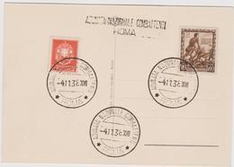 Adunata Nazionale Combattenti, Roma 1938, Annullo Speciale - F.G. - Expositions Philatéliques