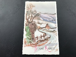 654 - BONNE ANNÉE Chalet Enneigé (dorure Relief) - 1963 - Nouvel An