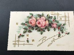 BONNE ANNEE Roses & Gui - 1937 (dorures Relief) - Neujahr