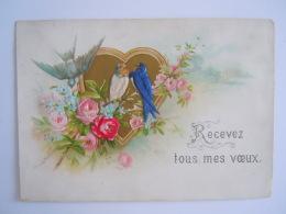 Mignonnette Voeux Hirondelles Et Fleurs En Tissu Relief 1891 Mignonette - Wensen En Feesten