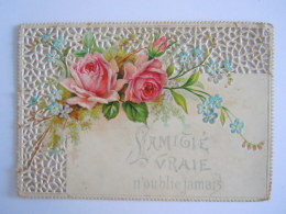Mignonnette Ajourée Voeux Amitié  Fleurs Rose Relief Mignonette 10,80 X 7,50 Cm - Wensen En Feesten