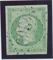 """5 C Vert Jaune Obl GC 4369 """"Chepoix"""" Signé Calves TB D'aspect. - 1853-1860 Napoléon III"""