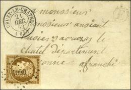 PC 1050 / N° 1 Bistre-brun Càd T 15 CRUZY-LE-CHATEL (83) Sur Lettre Locale. 1852. - TB / SUP. - R. - 1849-1850 Ceres