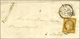 PC 3597 / N° 1 Def Càd T 15 RODEZ (11) Cursive 11 / Villecomtal Sur Lettre Avec Texte Pour Rodez. 1853. - TB. - 1849-1850 Ceres