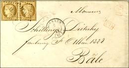 PC 1124 / N° 1 Paire (leg Def) Càd T 15 DORNACH (66) Sur Lettre Au Tarif Frontalier Pour Bâle. 1852. - TB. - R. - 1849-1850 Ceres