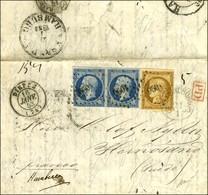 PC 1096 / N° 1 (leg Def) + 10 Paire (1 Ex Def) Càd T 15 DIEPPE (74) Sur Lettre Pour La Suède. Au Recto, Càd D'arrivée. 1 - 1849-1850 Ceres