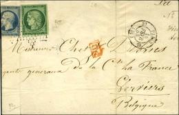 Etoile / N° 2 Vert Foncé + N° 10 (def) Càd PARIS (60) Sur Lettre Pour La Belgique. - B. - 1849-1850 Ceres