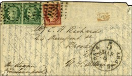 Rouleau De Points / N° 2 Paire + N° 6 (les 3 Ex Def) Càd PARIS (60) Sur Lettre Pour New York. 1853. - B / TB. - R. - 1849-1850 Ceres