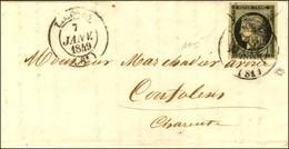 Càd T 14 LIMOGES (81) 7 JANV. 49 + Plume / N° 3 Sur Lettre Avec Texte Pour Confolens. Au Verso, Càd D'arrivée 8 JANV. 49 - 1849-1850 Ceres