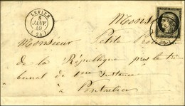 Càd T 15 LEVIER (24) 8 JANV. 49 / N° 3 Sur Lettre Avec Texte Pour Pontarlier. - SUP. - R. - 1849-1850 Ceres